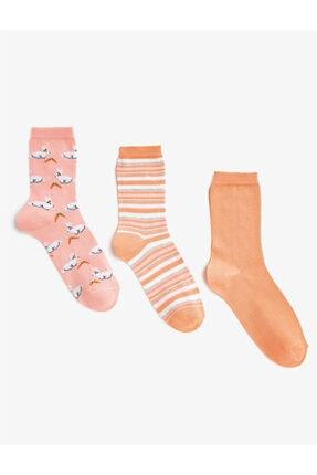 Koton Kadın Pembe Çizgili Desenli Çorap Seti Pamuklu 3'lü