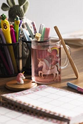 D&S Gİft Store Bambu Kapaklı Unicorn Cam Kupa
