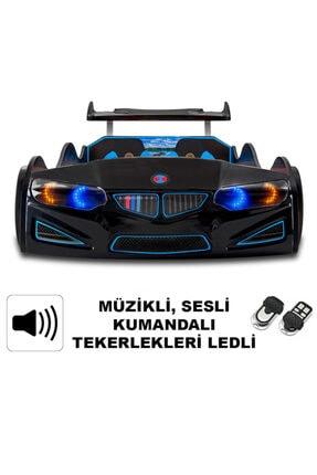 Arabalı Yatak Bmw - Full - Araba Karyola - Tekerleri Ledli - Siyah