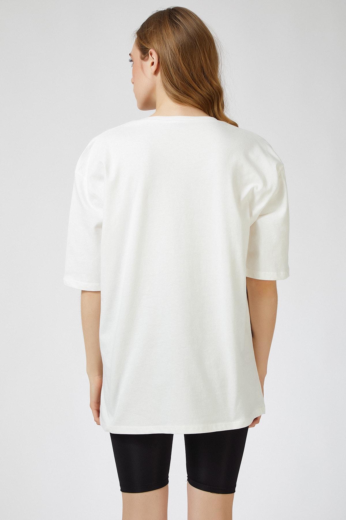 Happiness İst. Kadın Ekru Baskılı Oversize Uzun  T-shirt ZV00089 2