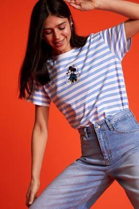 DeFacto Kadın Beyaz Çizgili Mickey Mouse Lisanslı Oversize Kısa Kollu Tişört