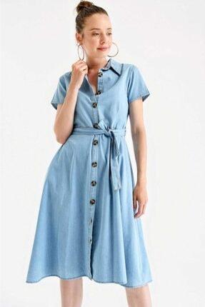 Bigdart Kadın Mavi Boydan Düğmeli Bel Kuşak Kot Elbise 1677