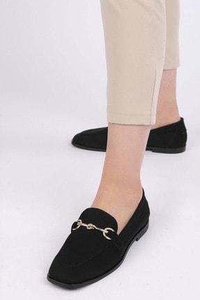 Marjin Kadın Siyah Süet Loafer Ayakkabı Denosa