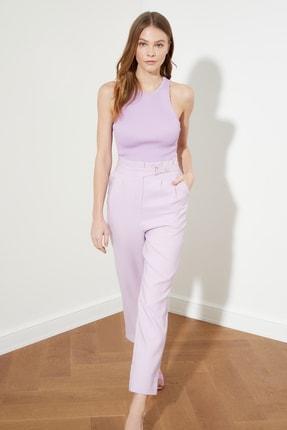 TRENDYOLMİLLA Lila Kemer Detaylı Pantolon TWOSS20PL0131