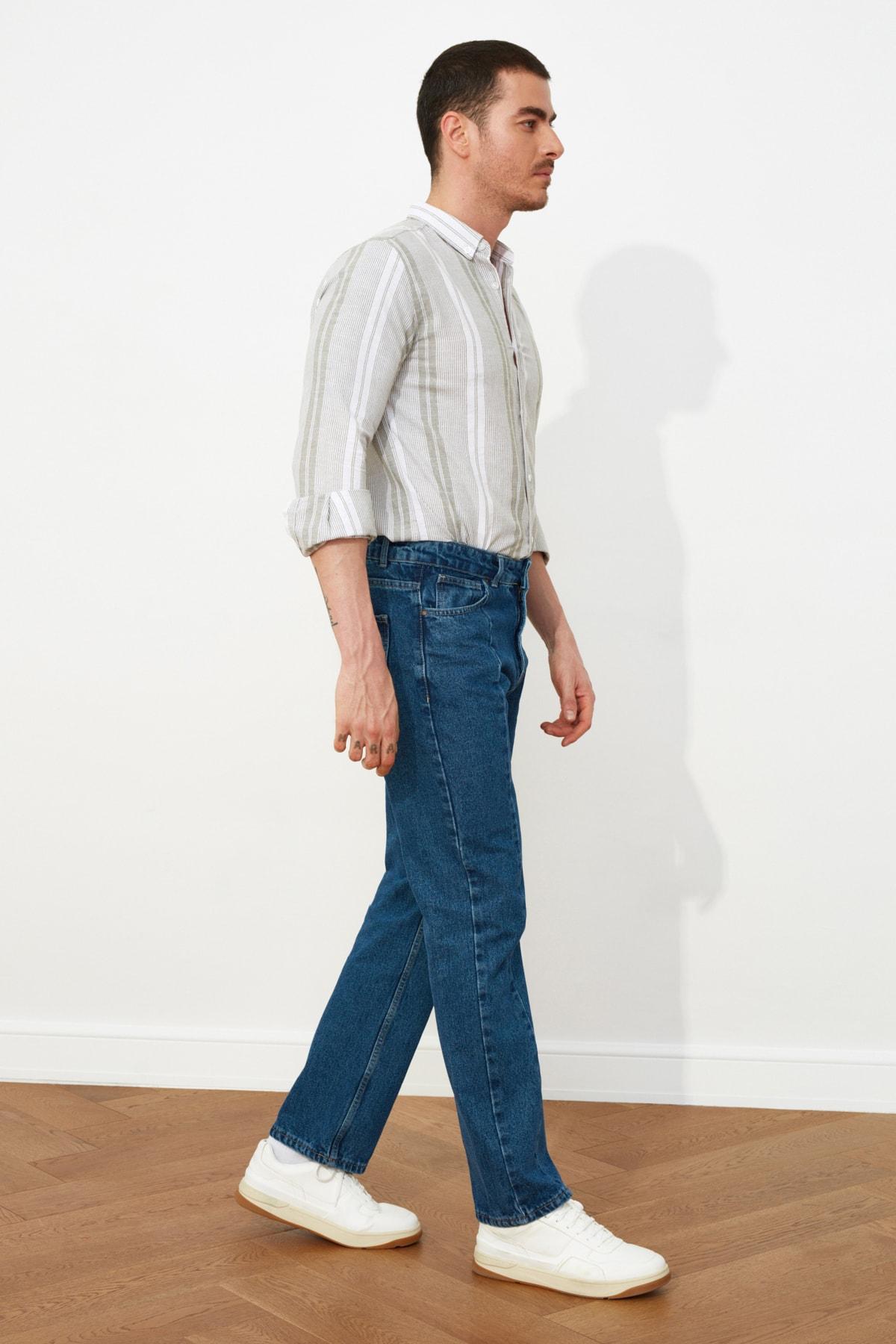 TRENDYOL MAN Lacivert Erkek Straight Fit Jeans TMNSS21JE0056 2