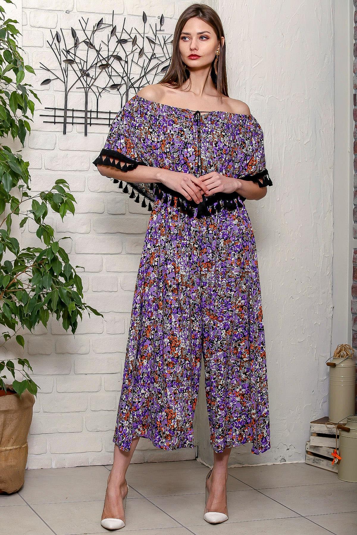 Chiccy Kadın Floral  Carmen Yaka Çiçek Desenli Püskül Detaylı Uzun Dokuma Tulum