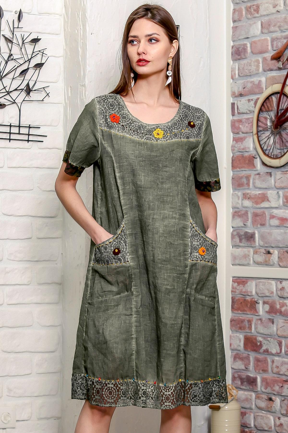 Chiccy Kadın Haki Robası Dantel El İşi Örgü Çiçek Detaylı Cepli Astarlı Yıkamalı Dokuma Elbise