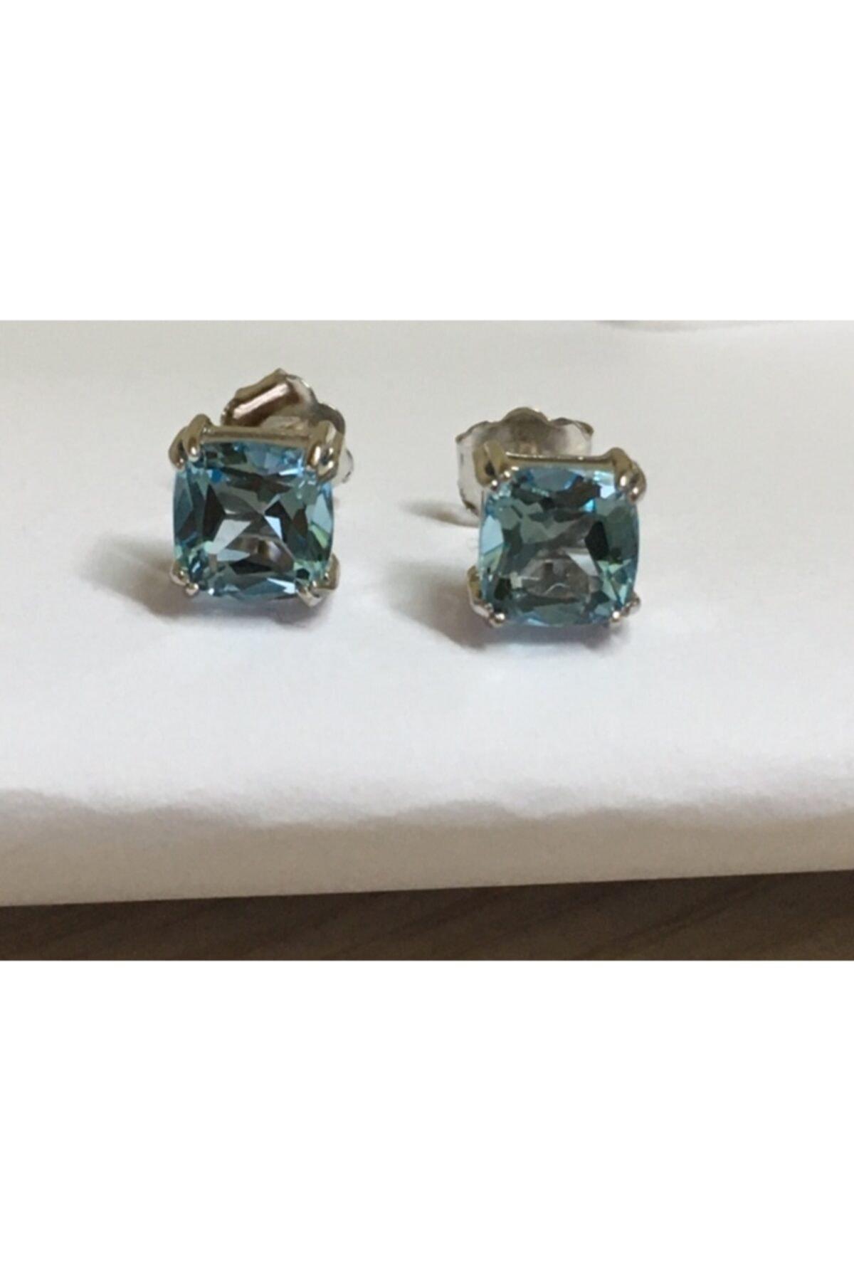 ALTAŞ KUYUMCULUK Gerçek Blue Topaz Tek Taş Gümüş Küpe 2