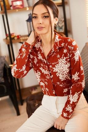 armonika Kadın Kiremit Küçük Çiçek Desenli Uzun Kol Gömlek ARM-21K001130