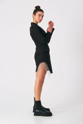 Robin Kadın Siyah Taş Püsküllü Ceket Elbise