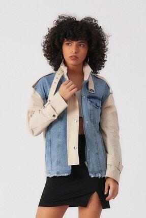 Robin Kadın Taş Yakası Kemerli Jean Ceket