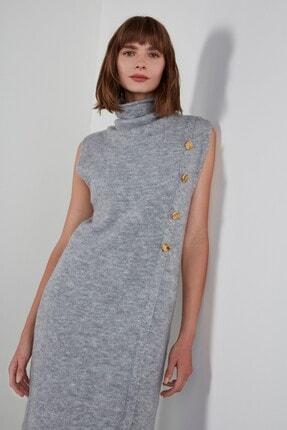 JOIN US Düğmeli Kolsuz Degaje Yaka Triko Elbise - Gri