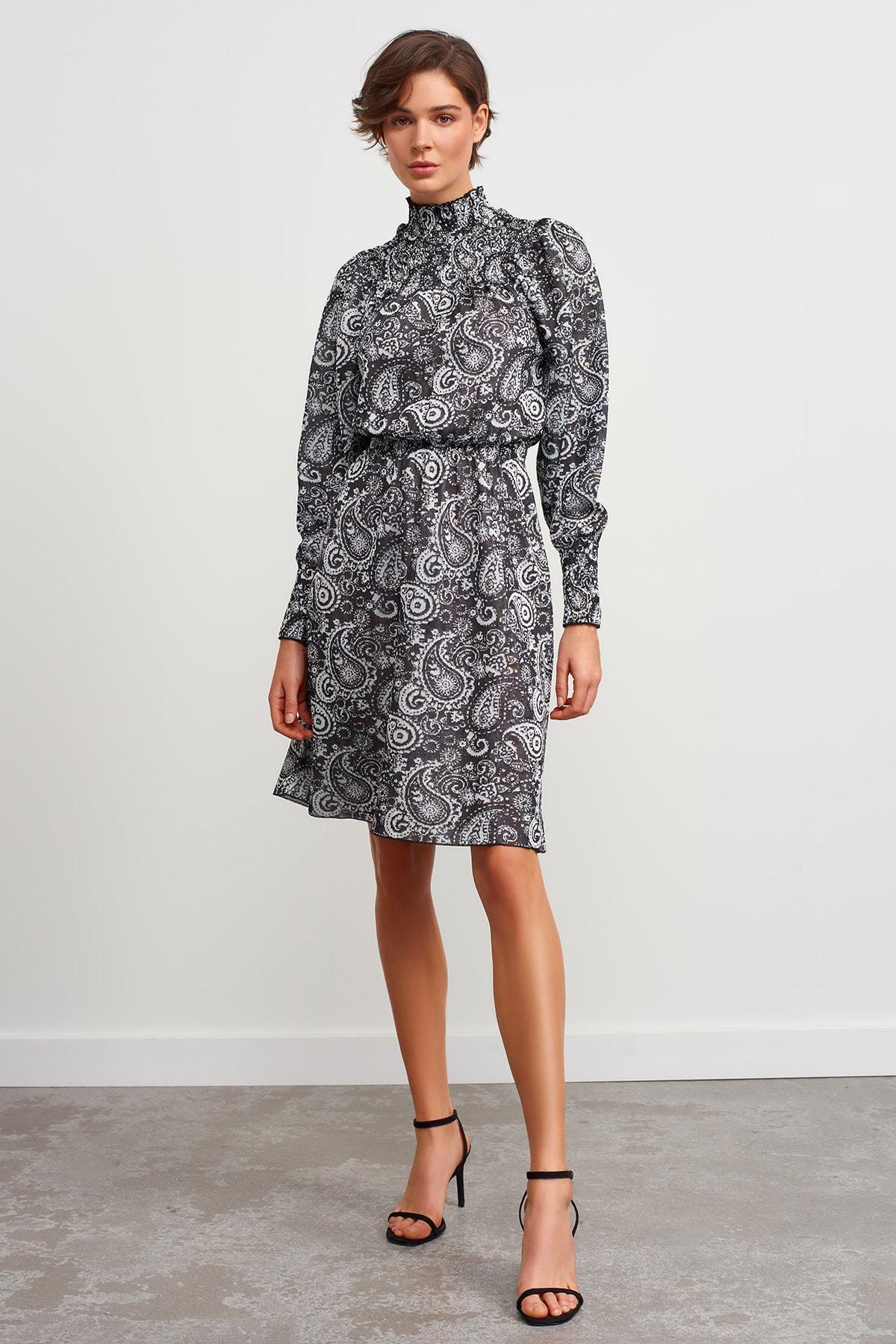 JOIN US Dik Yaka Desenli Triko Elbise-siyah 1