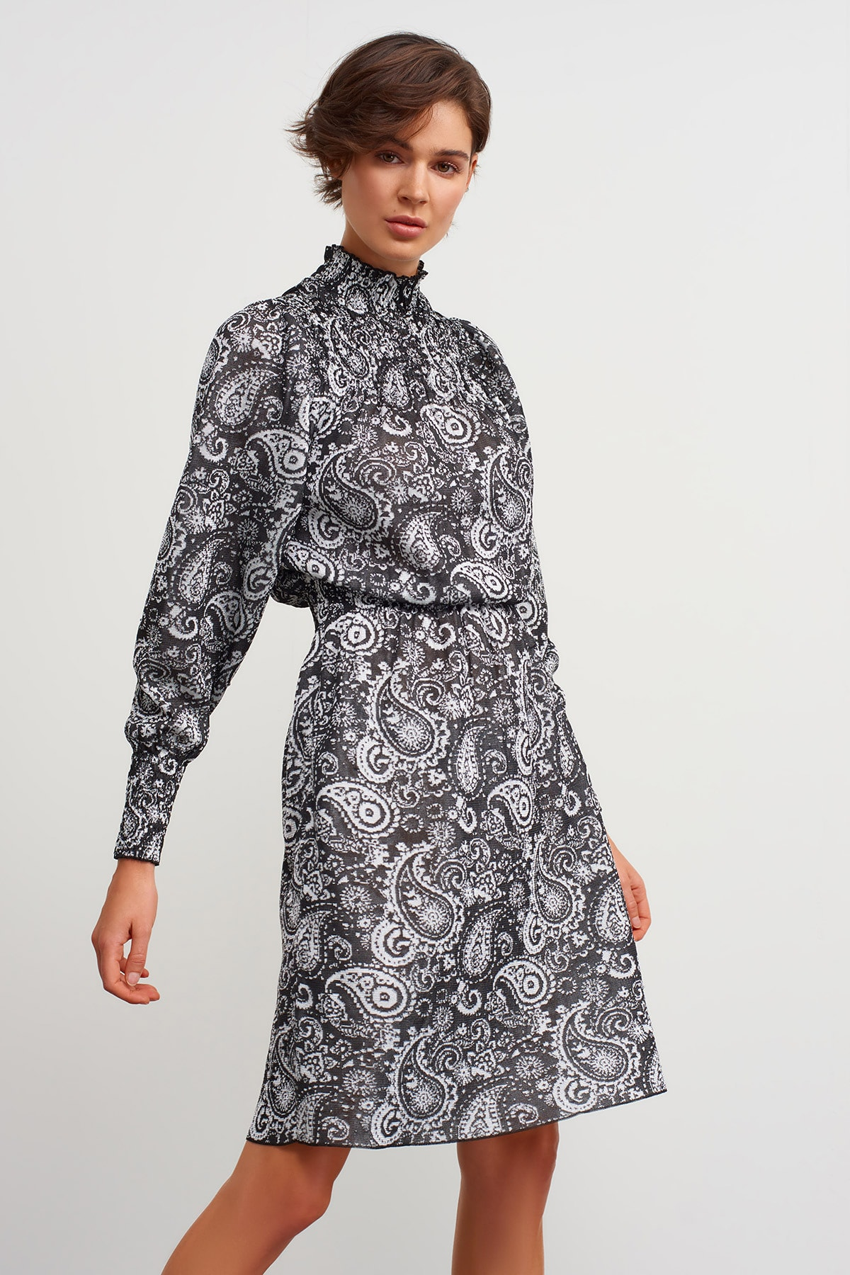 JOIN US Dik Yaka Desenli Triko Elbise-siyah 2