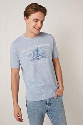 LC Waikiki Erkek Açık Mavi Melanj Tişört