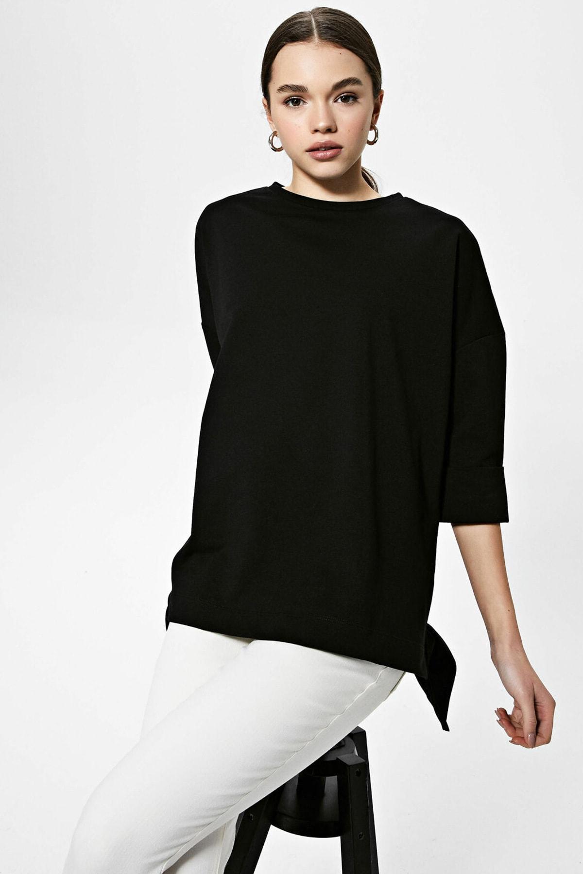 LC Waikiki Kadın Yeni Siyah Sweatshirt 2