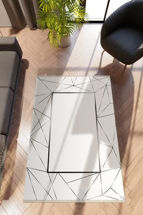 10 Post Online Modern Geometrik Gri Dijital Baskı Halı Kaydırmaz Ince Yıkanabilir