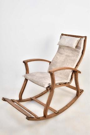 TOKKO Lucca Ahşap Formlu Sallanan Sandalye - Dinlenme Kitap Okuma Tv Koltuğu Beyaz
