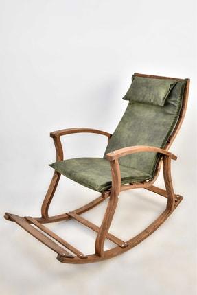 TOKKO Lucca Ahşap Formlu Sallanan Sandalye - Dinlenme Kitap Okuma Tv Koltuğu Yeşil