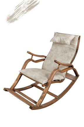 TOKKO Oslo Ahşap Formlu Sallanan Sandalye - Dinlenme Kitap Okuma Tv Koltuğu Beyaz