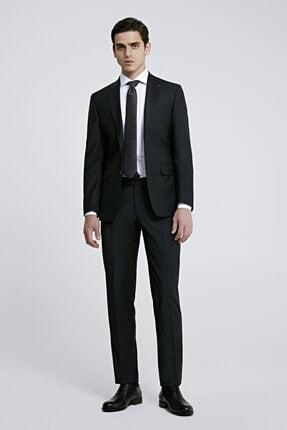 D'S Damat Erkek Siyah Düz Travel Takım Elbise