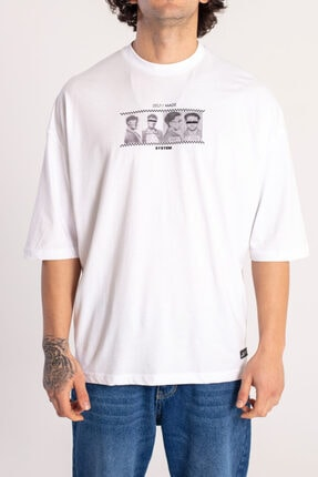 Catch Self Made Beyaz Oversize T-shirt Y-528
