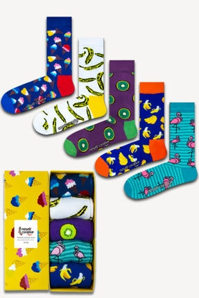 Neşeli Çoraplar 5'li Muz Kivi Renkli Çorap Set