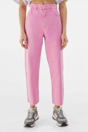 Bershka Kadın Pembe Fitilli Crop Straight Fit Pantolon