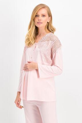 Arnetta Kadın Pudra Elegant Mommy Lohusa Pijama Takımı