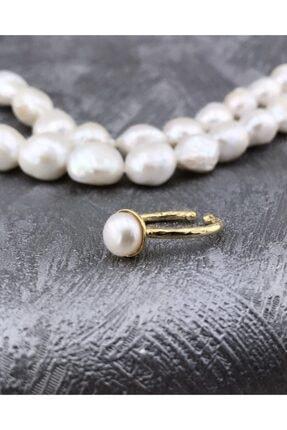 Joel Jewelry Altın Kaplamalı Inci Taşlı Ayarlanabilir Gümüş Yüzük