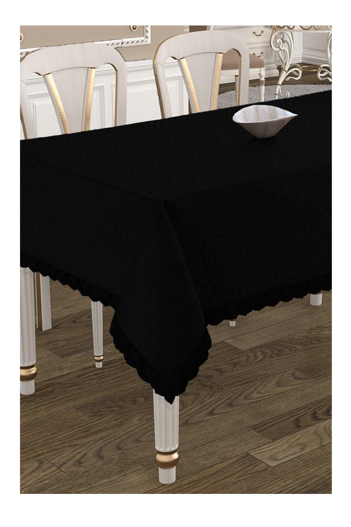 Çeyiz Diyarı Kdk Dertsiz Masa Örtüsü  - Siyah