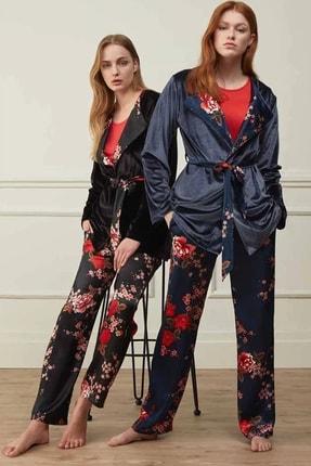 Feyza Pijama Kadın Siyah 3 Lü Pijama Takımı