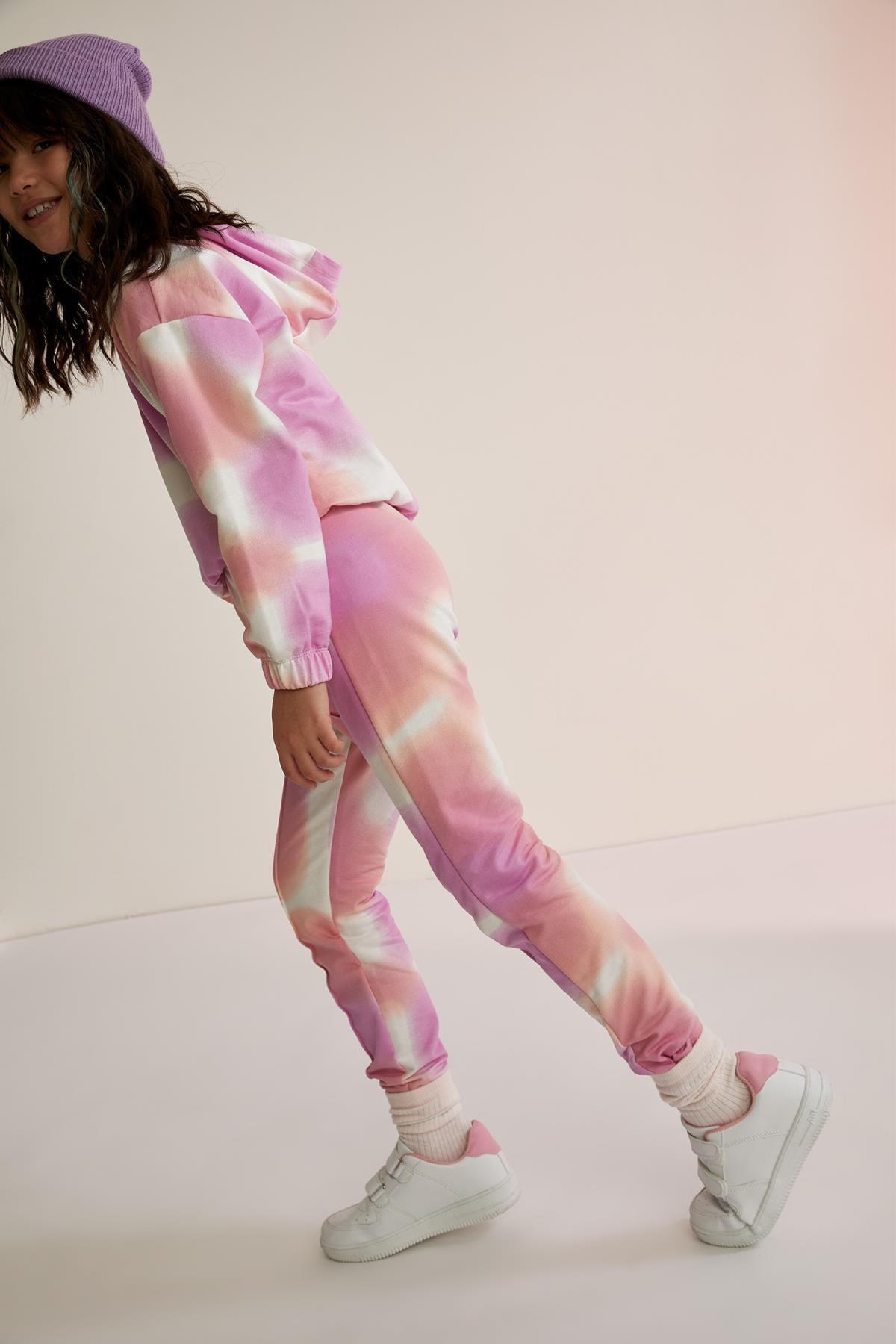 DeFacto Kız Çocuk Batik Desen Sweatshirt ve Jogger Eşofman Takım
