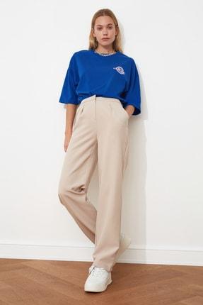 TRENDYOLMİLLA Taş Düz Kesim Pileli Pantolon TWOSS21PL0155