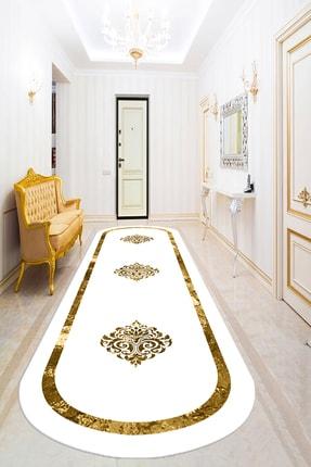 Bely Home Bely Dijital Baskılı Kaymaz Taban Yıkanabilir Gold Çerçeveli Varak Desenli Beyaz Oval Halı