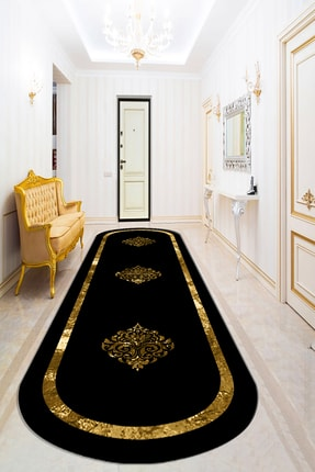 Bely Home Bely Dijital Baskılı Kaymaz Taban Yıkanabilir Gold Çerçeveli Varak Desenli Oval Halı