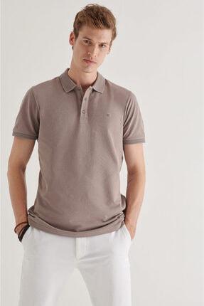 Avva Erkek Koyu Vizon Polo Yaka Düz T-shirt A11b1146