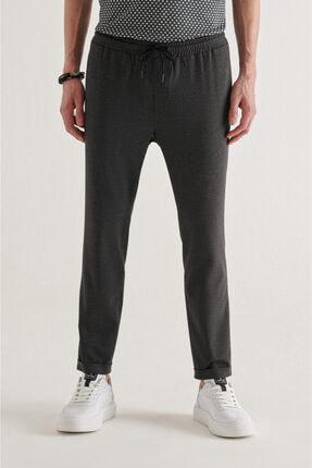 Avva Erkek Antrasit Yandan Cepli Beli Lastikli Kordonlu Düz Relaxed Fit Pantolon E003000