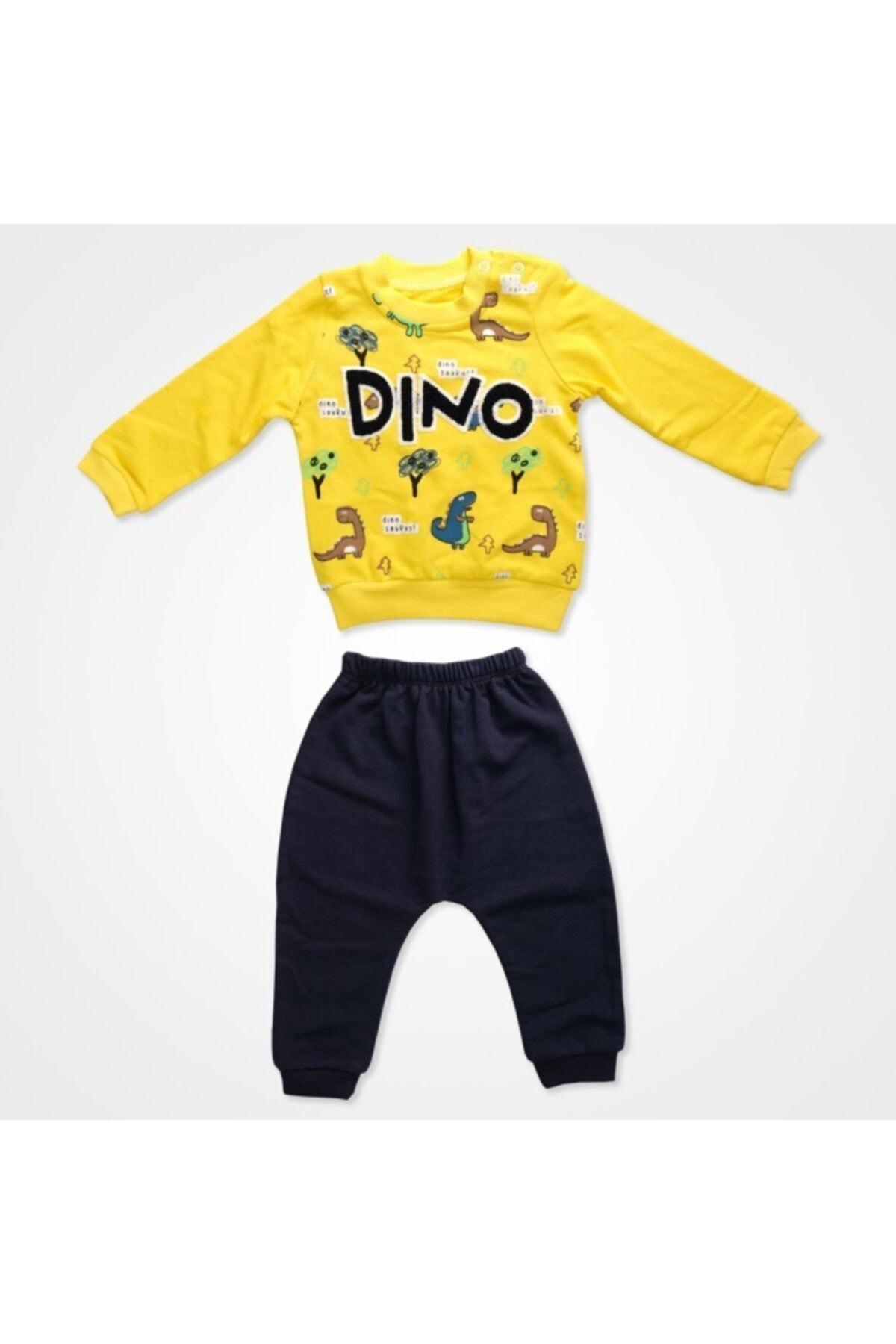 anılço Erkek Bebek Dino Baskılı Eşofman Takım -sarı- 1