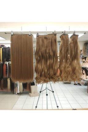 My Hair Türkiye Yarımay Çıtçıt Saç 4 Lü Set Fiber Sentetik Kumral Karamel Ombre Renk Kodu-h10-27