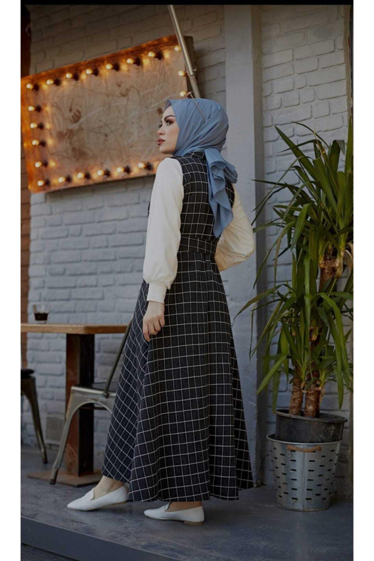 mislina moda Kare Desen 3'lü Jile Desen Kombin Elbise 2