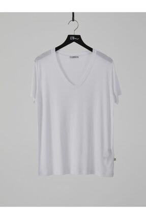 Ltb Kadın  Beyaz Kısa Kol V Yaka T-Shirt 012218000761450000