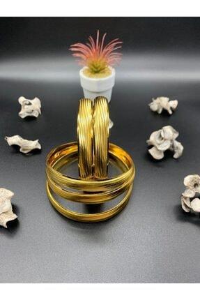 Alzey Gold İmitasyon 1 Cm Bilezik 22 Ayar Saf Altın Kaplama 2 Yıl Garanti 1 Adet