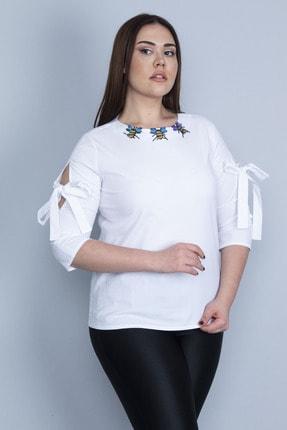 Şans Kadın Beyaz Yaka Aksesuarlı Kol Detaylı Poplin Bluz 65N23123