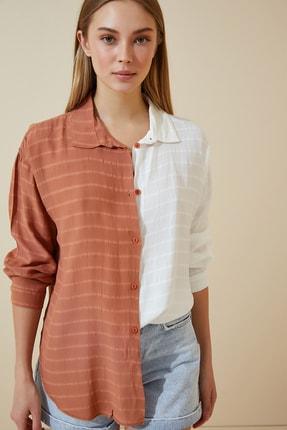 Happiness İst. Kadın Bisküvi Blok Renkli Oversize Uzun Gömlek