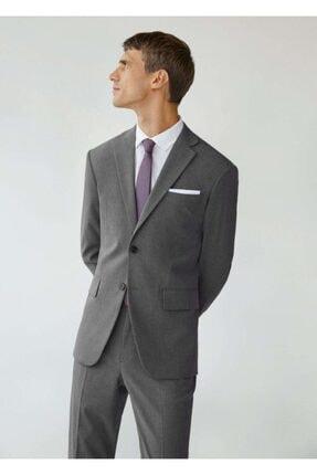 MANGO Man Erkek Gri Dar Kesimli Mini Dokuma Takım Blazer Ceket