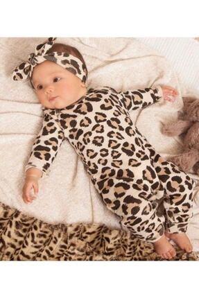 Murat Baby Kız Bebek Bandanalı Leopar Desenli Pamuk Tulum