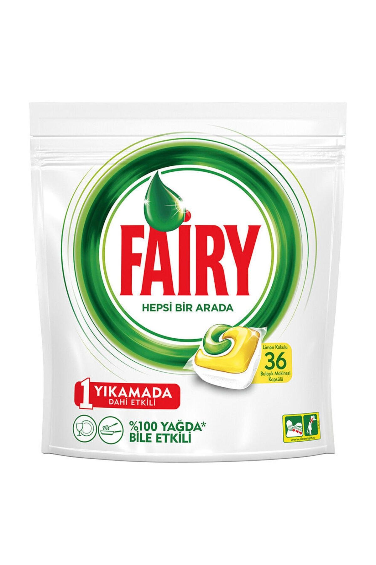 Fairy Hepsi Bir Arada 36 Yıkama Bulaşık Makinesi Deterjanı Kapsülü Limon Kokulu 2