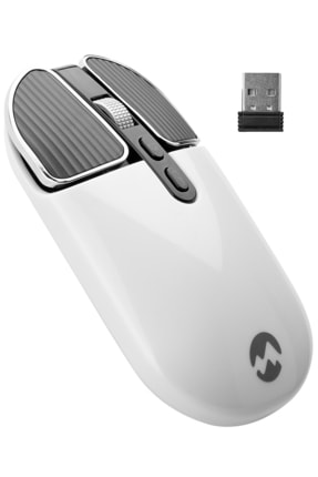Everest Sm-619 Metalik Beyaz 1600 Dpı 2.4 Ghz Süper Sessiz Şarj Edilebilir Premium Kablosuz Mouse