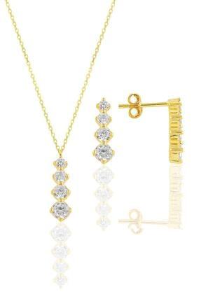 Söğütlü Silver Gümüş Altın Yaldızlı Zirkon Taşlı Işıltılı Ikili Set